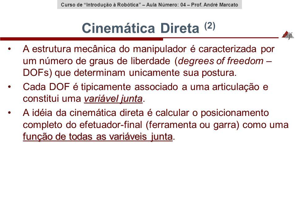 Curso de Introdução à Robótica – Aula Número: 04 – Prof. André Marcato Cinemática Direta (2) A estrutura mecânica do manipulador é caracterizada por u