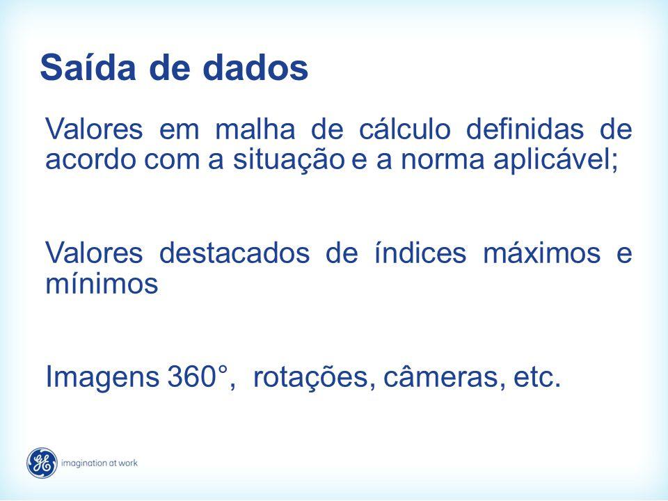 Saída de dados Valores em malha de cálculo definidas de acordo com a situação e a norma aplicável; Valores destacados de índices máximos e mínimos Ima