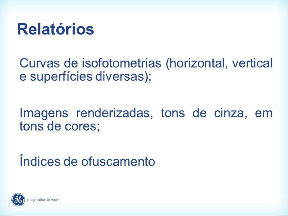 Relatórios Curvas de isofotometrias (horizontal, vertical e superfícies diversas); Imagens renderizadas, tons de cinza, em tons de cores; Índices de o