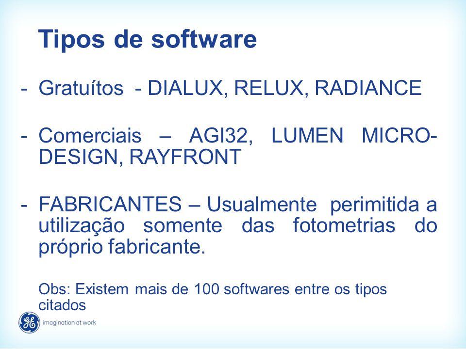 Tipos de software -Gratuítos - DIALUX, RELUX, RADIANCE -Comerciais – AGI32, LUMEN MICRO- DESIGN, RAYFRONT -FABRICANTES – Usualmente perimitida a utili