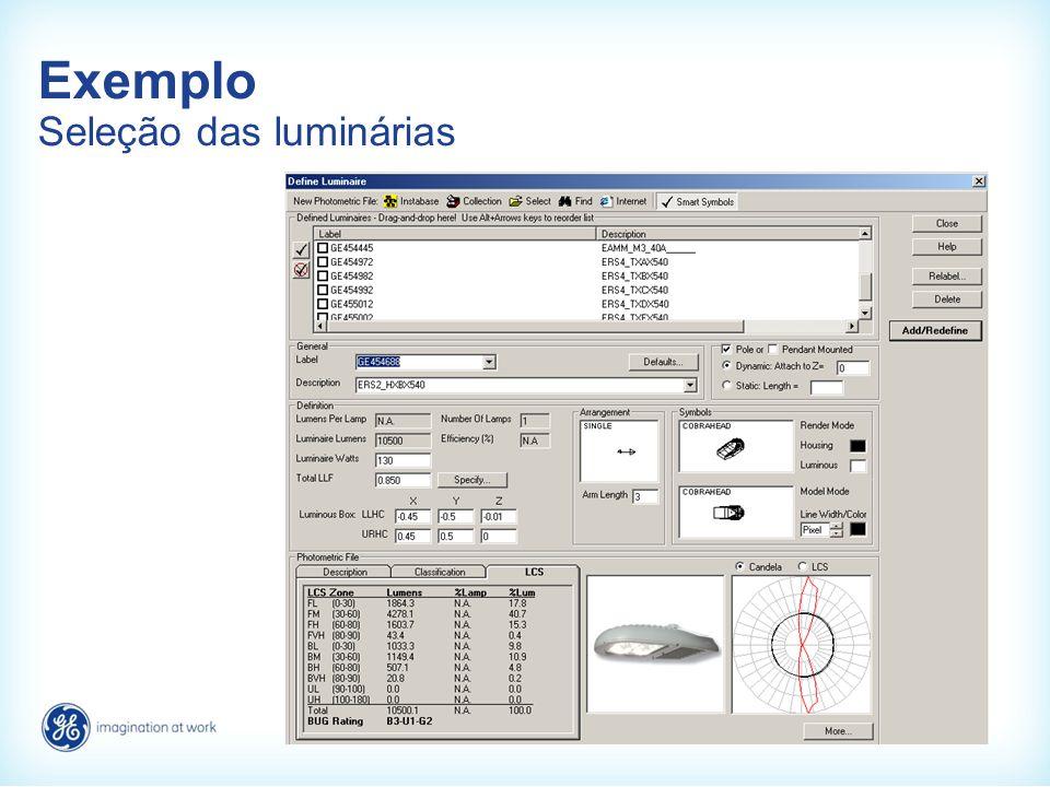 Exemplo Seleção das luminárias