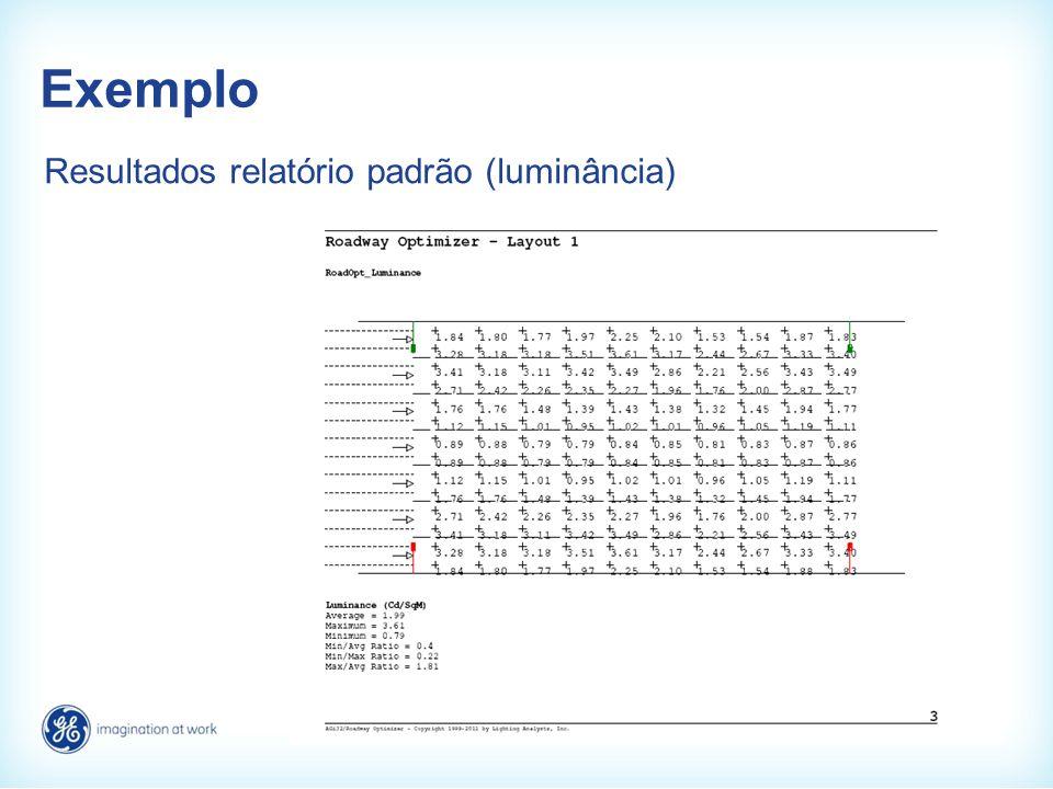 Exemplo Resultados relatório padrão (luminância)