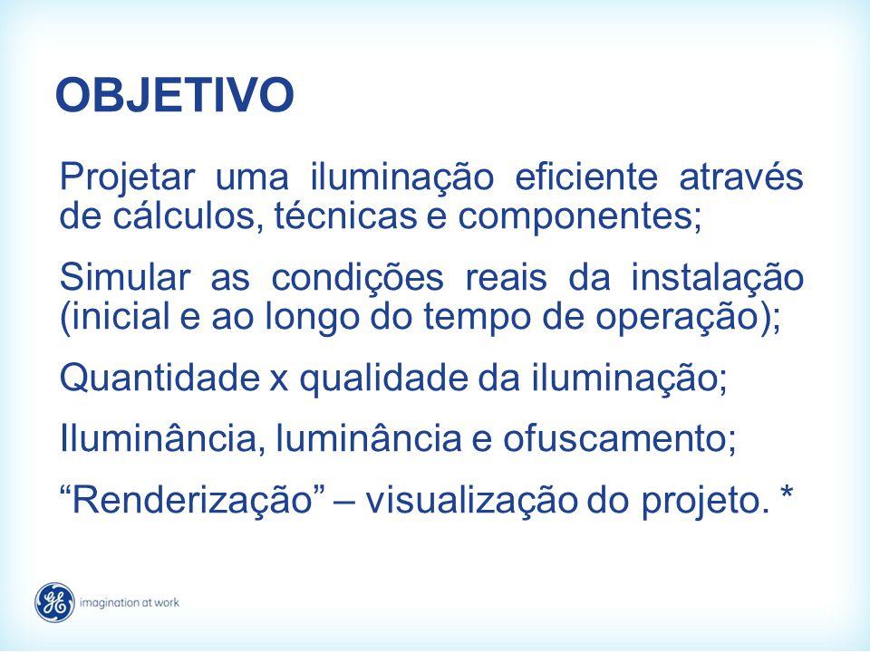 OBJETIVO Projetar uma iluminação eficiente através de cálculos, técnicas e componentes; Simular as condições reais da instalação (inicial e ao longo d