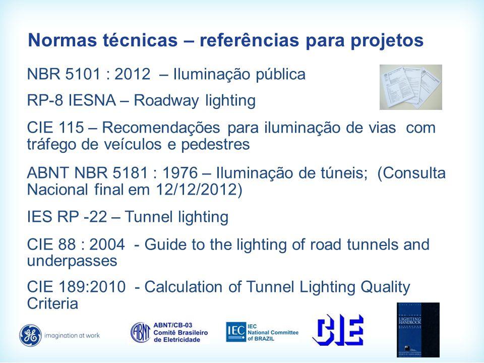 Normas técnicas – referências para projetos NBR 5101 : 2012 – Iluminação pública RP-8 IESNA – Roadway lighting CIE 115 – Recomendações para iluminação