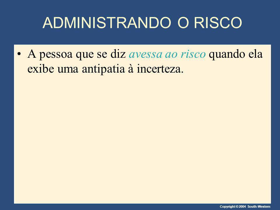 Copyright © 2004 South-Western ADMINISTRANDO O RISCO A pessoa que se diz avessa ao risco quando ela exibe uma antipatia à incerteza.