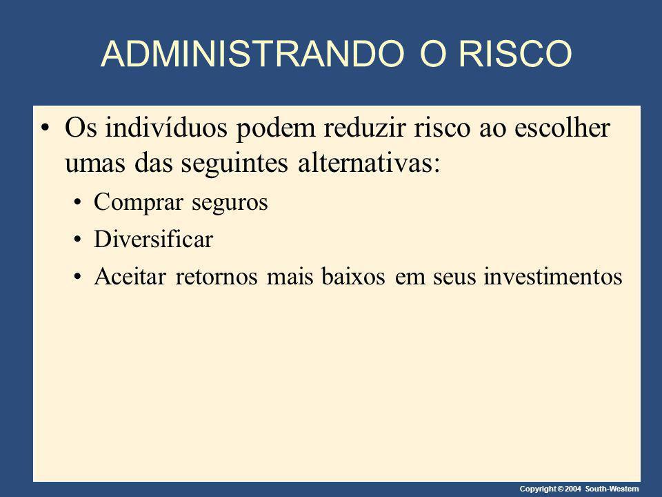 Copyright © 2004 South-Western ADMINISTRANDO O RISCO Os indivíduos podem reduzir risco ao escolher umas das seguintes alternativas: Comprar seguros Di