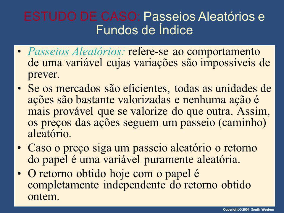 Copyright © 2004 South-Western ESTUDO DE CASO: Passeios Aleatórios e Fundos de Índice Passeios Aleatórios: refere-se ao comportamento de uma variável