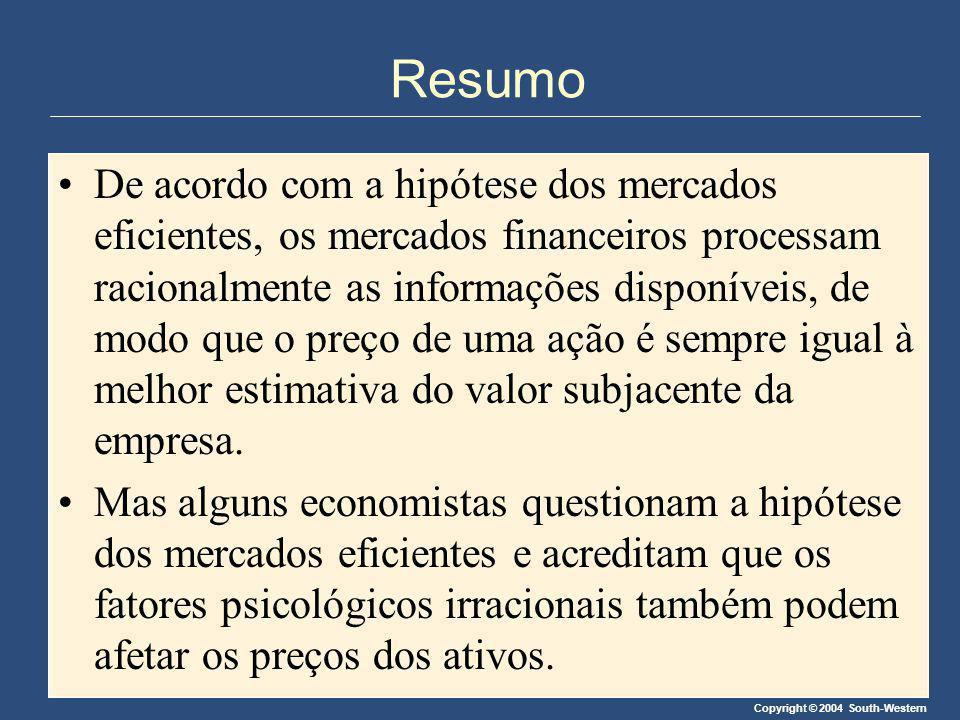 Copyright © 2004 South-Western Resumo De acordo com a hipótese dos mercados eficientes, os mercados financeiros processam racionalmente as informações
