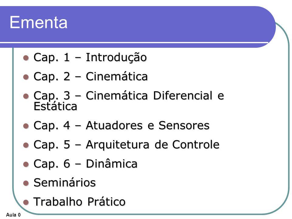 Aula 0 Ementa Cap. 1 – Introdução Cap. 1 – Introdução Cap. 2 – Cinemática Cap. 2 – Cinemática Cap. 3 – Cinemática Diferencial e Estática Cap. 3 – Cine