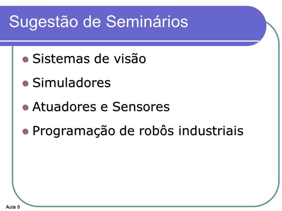 Aula 0 Sugestão de Seminários Sistemas de visão Sistemas de visão Simuladores Simuladores Atuadores e Sensores Atuadores e Sensores Programação de robôs industriais Programação de robôs industriais
