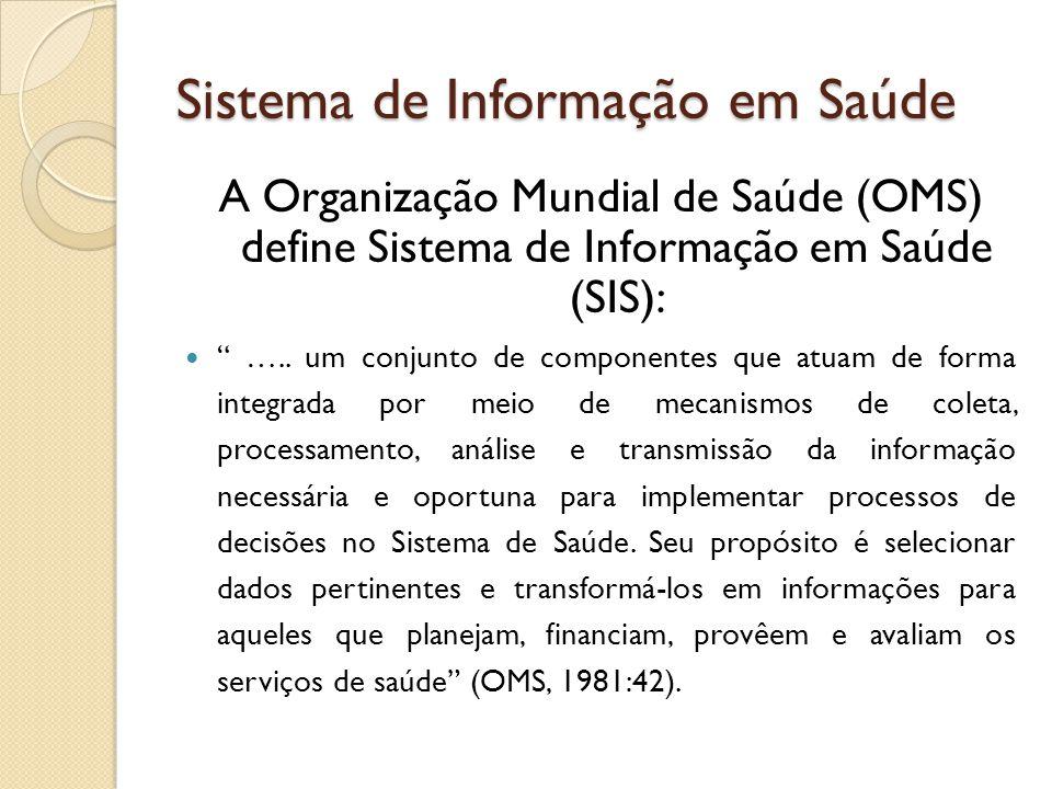 Sistema de Informação em Saúde A Organização Mundial de Saúde (OMS) define Sistema de Informação em Saúde (SIS): ….. um conjunto de componentes que at