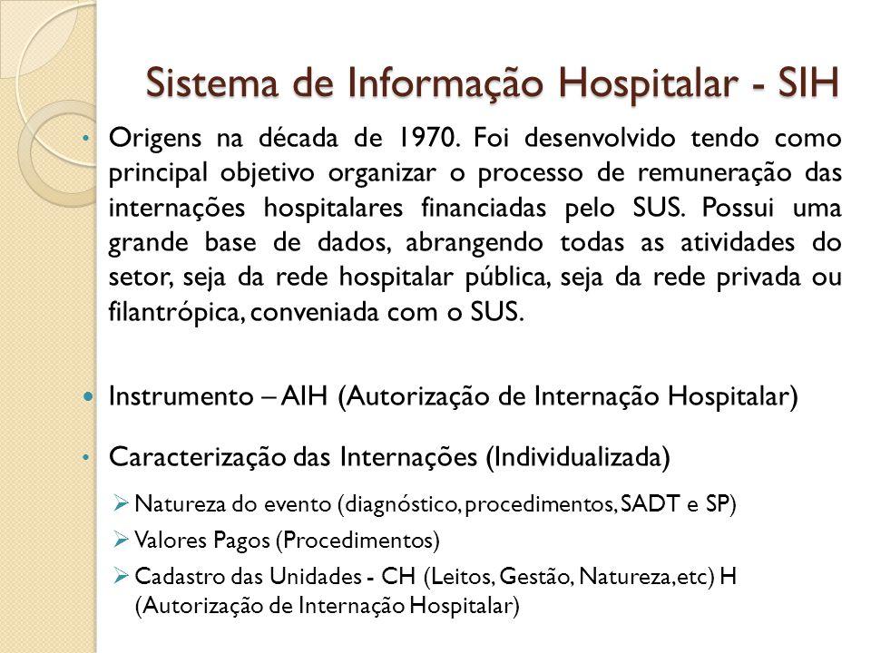 Sistema de Informação Hospitalar - SIH Origens na década de 1970. Foi desenvolvido tendo como principal objetivo organizar o processo de remuneração d