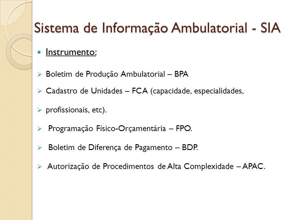Sistema de Informação Ambulatorial - SIA Instrumento: Boletim de Produção Ambulatorial – BPA Cadastro de Unidades – FCA (capacidade, especialidades, p