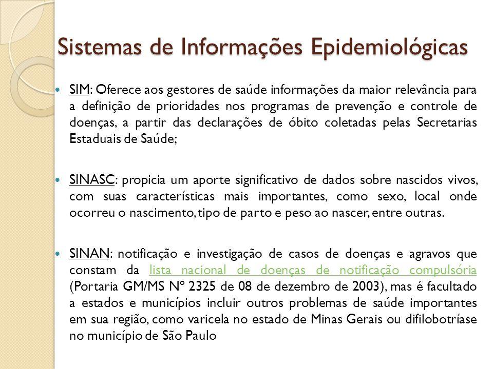 Sistemas de Informações Epidemiológicas SIM: Oferece aos gestores de saúde informações da maior relevância para a definição de prioridades nos program
