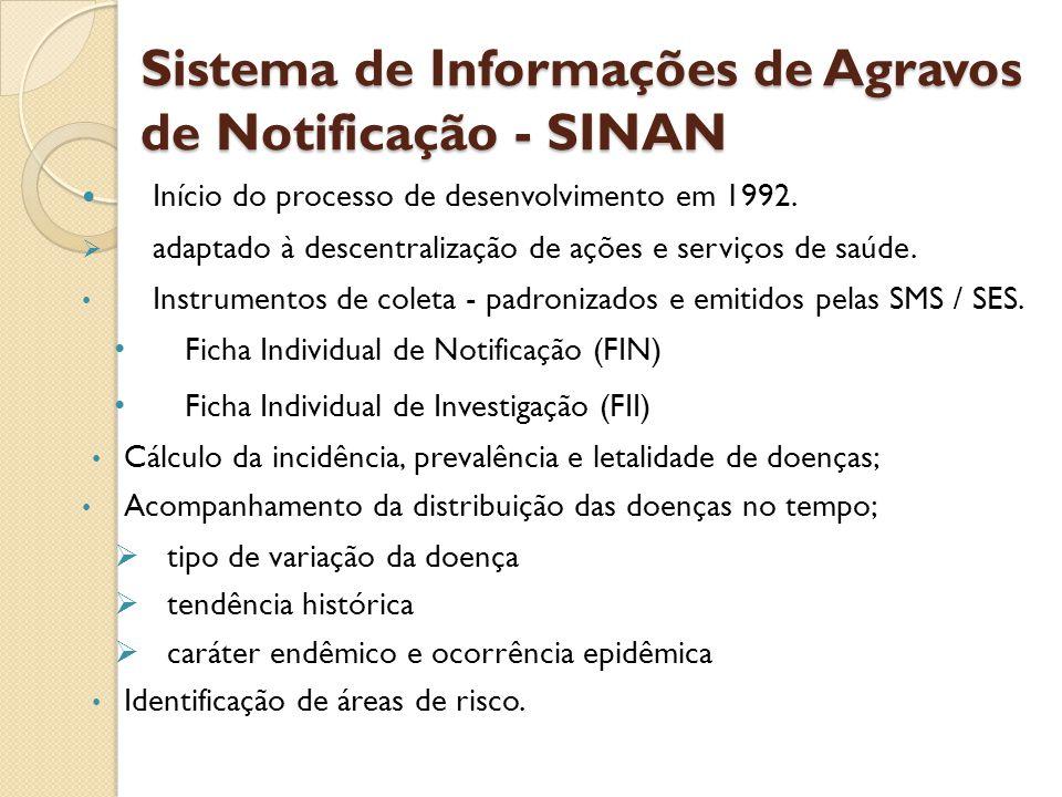 Sistema de Informações de Agravos de Notificação - SINAN Início do processo de desenvolvimento em 1992. adaptado à descentralização de ações e serviço