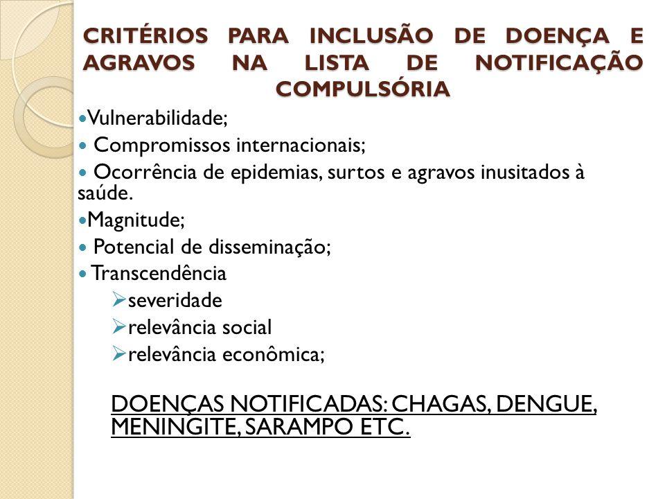 CRITÉRIOS PARA INCLUSÃO DE DOENÇA E AGRAVOS NA LISTA DE NOTIFICAÇÃO COMPULSÓRIA Vulnerabilidade; Compromissos internacionais; Ocorrência de epidemias,