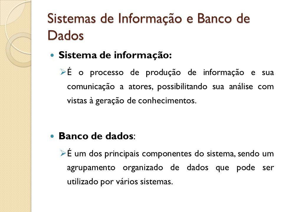 Sistemas de Informação e Banco de Dados Sistema de informação: É o processo de produção de informação e sua comunicação a atores, possibilitando sua a