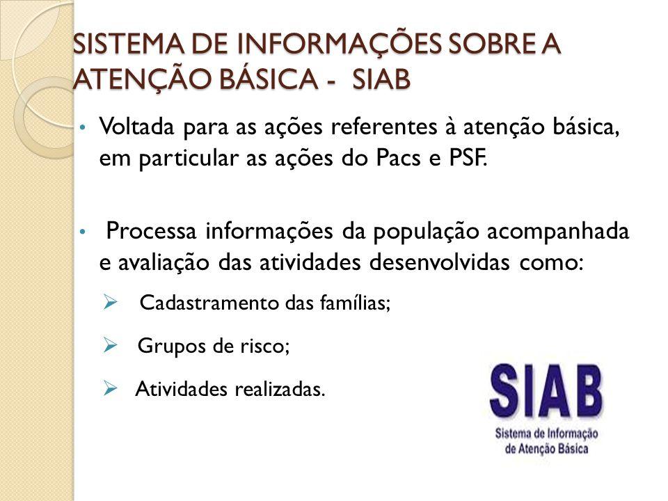 SISTEMA DE INFORMAÇÕES SOBRE A ATENÇÃO BÁSICA - SIAB Voltada para as ações referentes à atenção básica, em particular as ações do Pacs e PSF. Processa