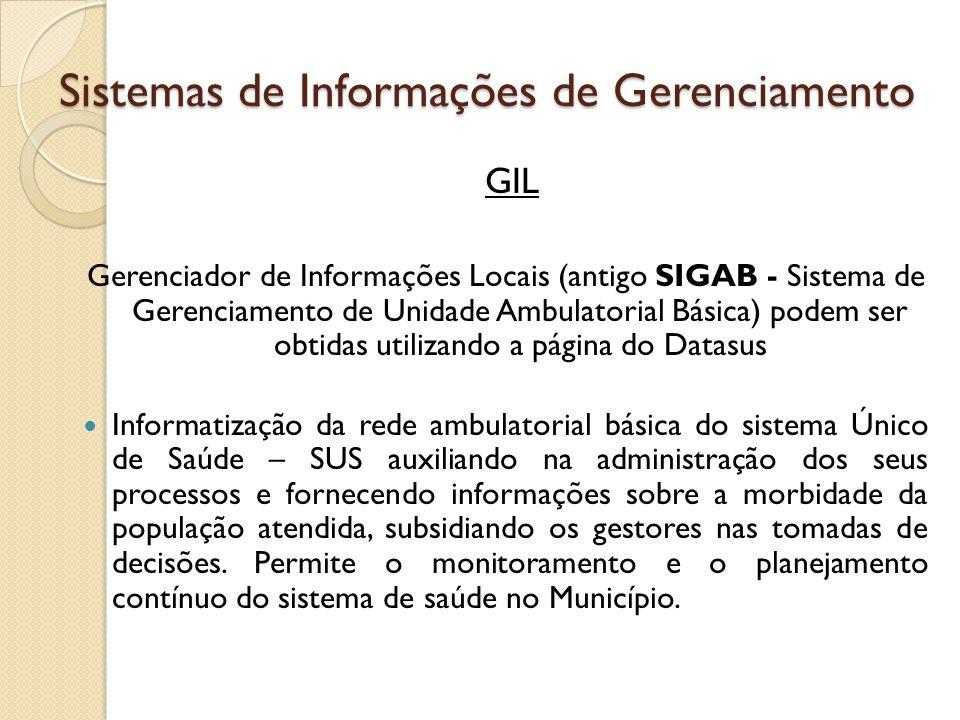 Sistemas de Informações de Gerenciamento GIL Gerenciador de Informações Locais (antigo SIGAB - Sistema de Gerenciamento de Unidade Ambulatorial Básica