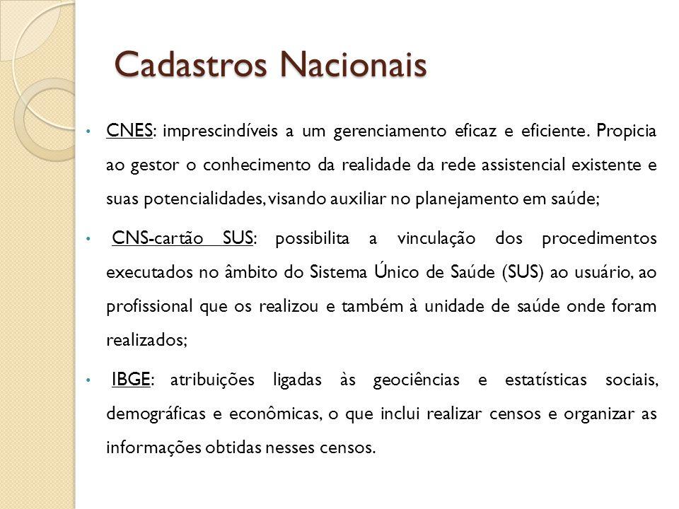 Cadastros Nacionais CNES: imprescindíveis a um gerenciamento eficaz e eficiente. Propicia ao gestor o conhecimento da realidade da rede assistencial e