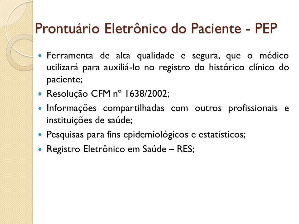 Prontuário Eletrônico do Paciente - PEP Ferramenta de alta qualidade e segura, que o médico utilizará para auxiliá-lo no registro do histórico clínico