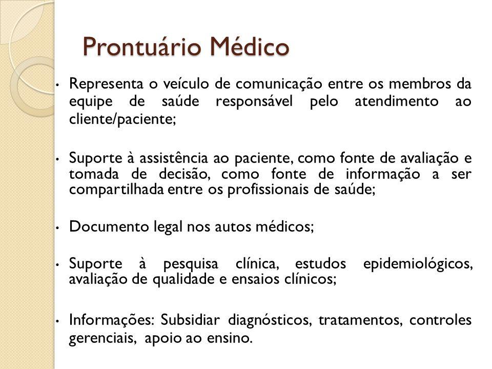 Prontuário Médico Representa o veículo de comunicação entre os membros da equipe de saúde responsável pelo atendimento ao cliente/paciente; Suporte à