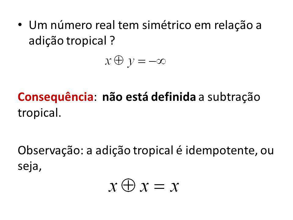 Um número real tem simétrico em relação a adição tropical ? Consequência: não está definida a subtração tropical. Observação: a adição tropical é idem