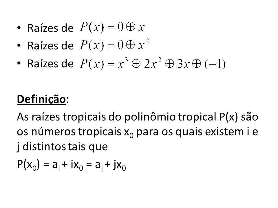 Raízes de Definição: As raízes tropicais do polinômio tropical P(x) são os números tropicais x 0 para os quais existem i e j distintos tais que P(x 0 ) = a i + ix 0 = a j + jx 0