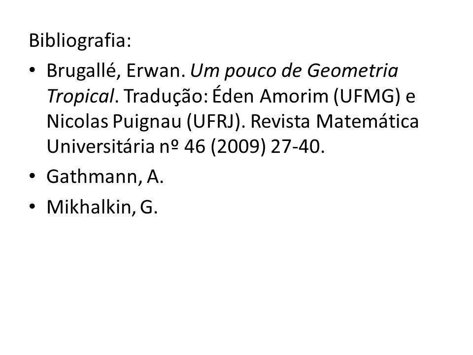 Bibliografia: Brugallé, Erwan. Um pouco de Geometria Tropical. Tradução: Éden Amorim (UFMG) e Nicolas Puignau (UFRJ). Revista Matemática Universitária