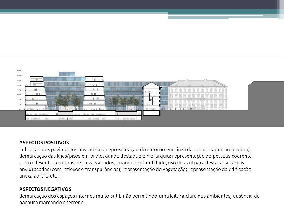 ASPECTOS POSITIVOS indicação dos pavimentos nas laterais; representação do entorno em cinza dando destaque ao projeto; demarcação das lajes/pisos em p