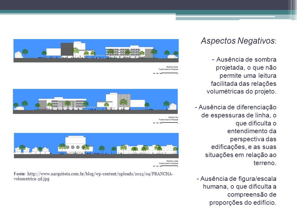 Fachada Aspectos Positivos Contraste entre a imagem e o fundo; Utilização de cores em dégradé Utilização de skyline; Aspectos Negativos Ausência de escala humana.