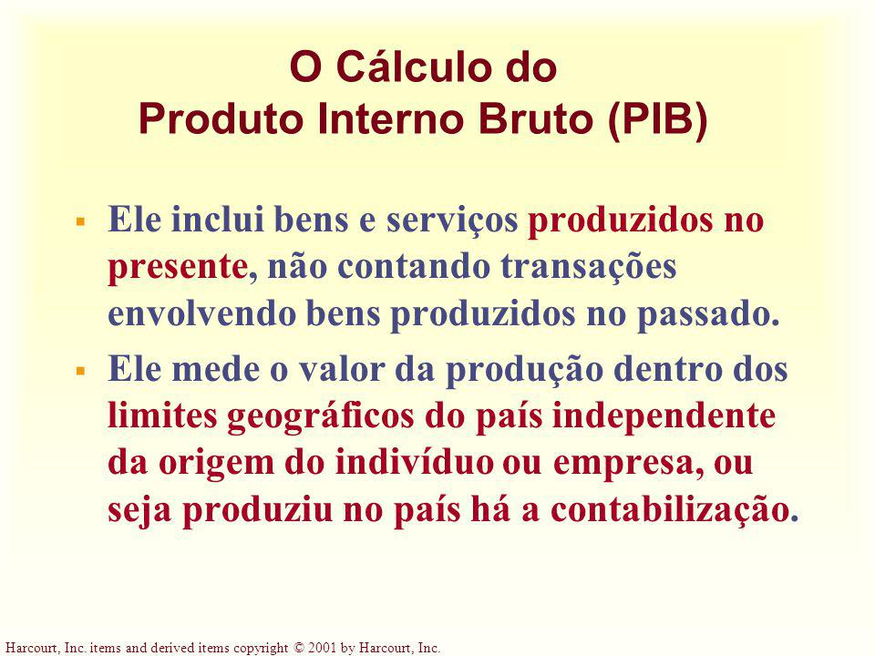 Harcourt, Inc. items and derived items copyright © 2001 by Harcourt, Inc. O Cálculo do Produto Interno Bruto (PIB) Ele inclui bens e serviços produzid