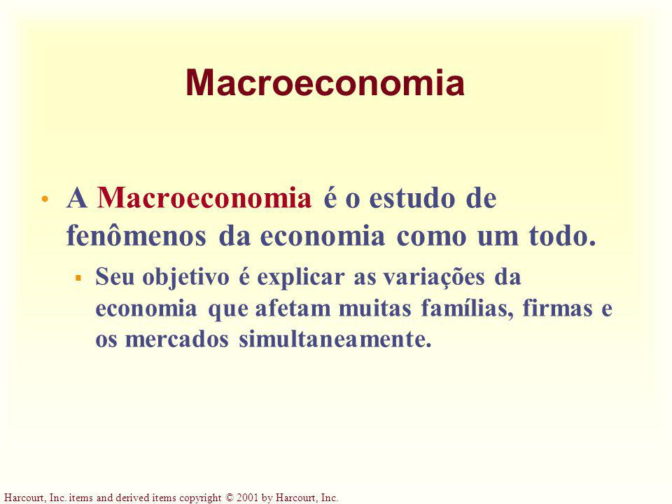 Harcourt, Inc. items and derived items copyright © 2001 by Harcourt, Inc. Macroeconomia A Macroeconomia é o estudo de fenômenos da economia como um to