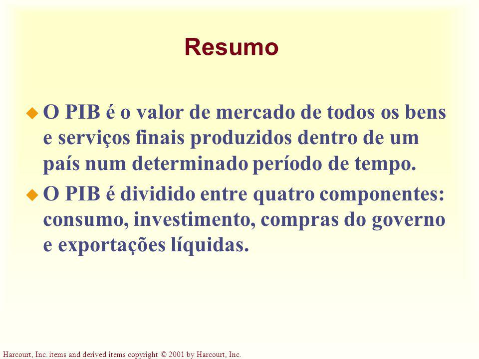 Harcourt, Inc. items and derived items copyright © 2001 by Harcourt, Inc. Resumo u O PIB é o valor de mercado de todos os bens e serviços finais produ