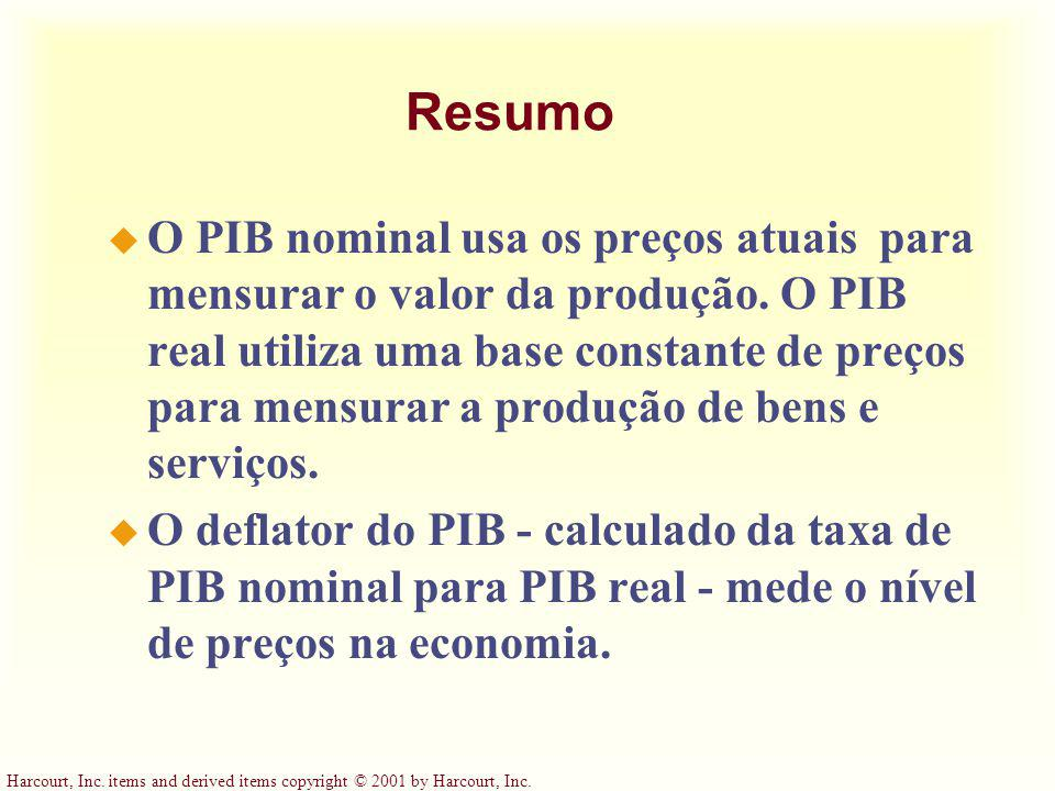 Harcourt, Inc. items and derived items copyright © 2001 by Harcourt, Inc. Resumo u O PIB nominal usa os preços atuais para mensurar o valor da produçã