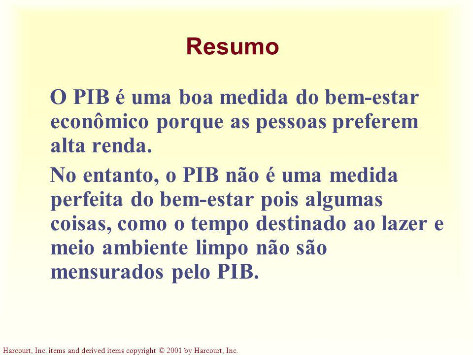 Harcourt, Inc. items and derived items copyright © 2001 by Harcourt, Inc. Resumo O PIB é uma boa medida do bem-estar econômico porque as pessoas prefe