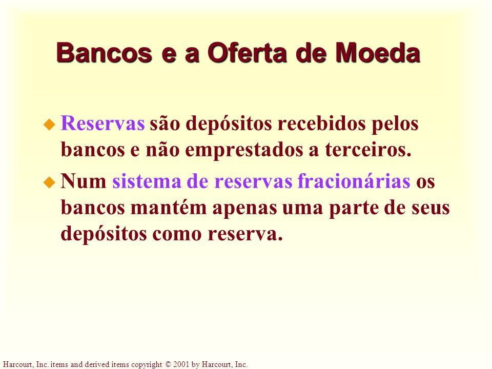 Harcourt, Inc. items and derived items copyright © 2001 by Harcourt, Inc. Bancos e a Oferta de Moeda u Reservas são depósitos recebidos pelos bancos e