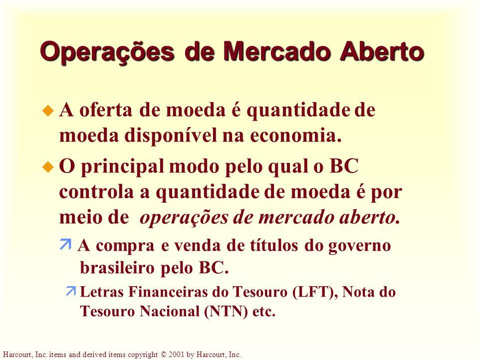 Harcourt, Inc. items and derived items copyright © 2001 by Harcourt, Inc. Operações de Mercado Aberto u A oferta de moeda é quantidade de moeda dispon