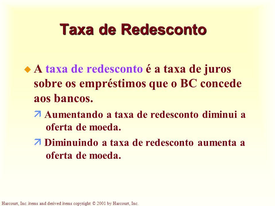 Harcourt, Inc. items and derived items copyright © 2001 by Harcourt, Inc. Taxa de Redesconto u A taxa de redesconto é a taxa de juros sobre os emprést