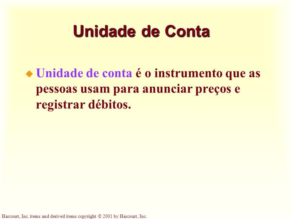 Harcourt, Inc. items and derived items copyright © 2001 by Harcourt, Inc. Unidade de Conta u Unidade de conta é o instrumento que as pessoas usam para