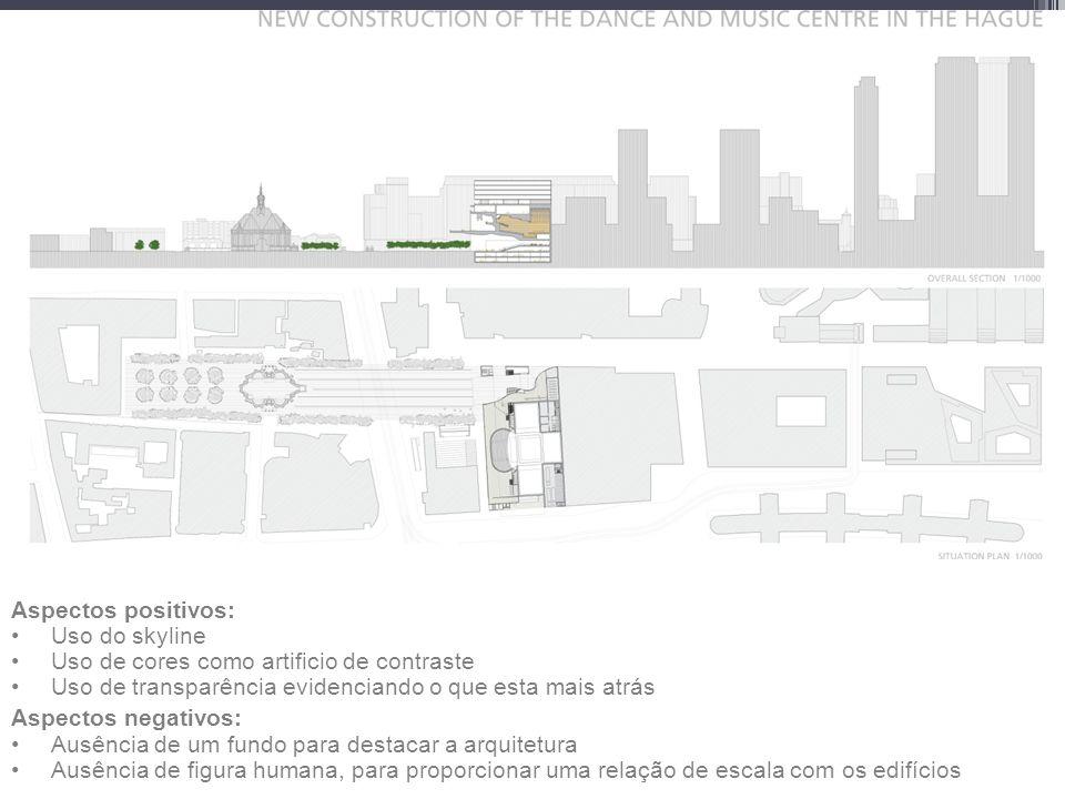 Cruz y Ortiz arquitectos Dance and Music Center Aspectos positivos: Uso do skyline Uso de cores como artificio de contraste Uso de transparência evidenciando o que esta mais atrás Aspectos negativos: Ausência de um fundo para destacar a arquitetura Ausência de figura humana, para proporcionar uma relação de escala com os edifícios