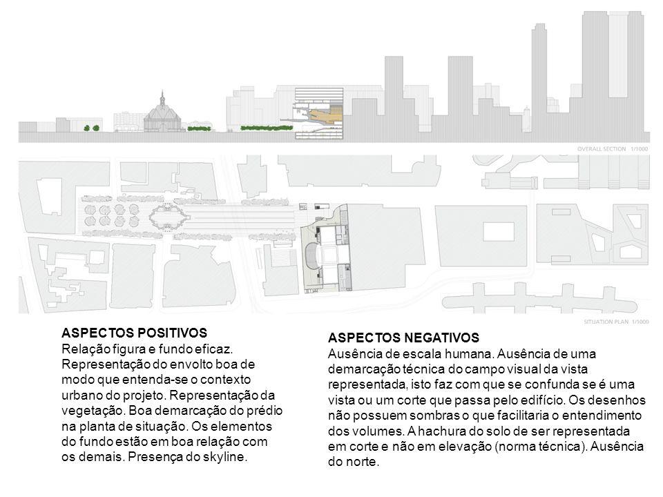 ASPECTOS POSITIVOS Relação figura e fundo eficaz. Representação do envolto boa de modo que entenda-se o contexto urbano do projeto. Representação da v