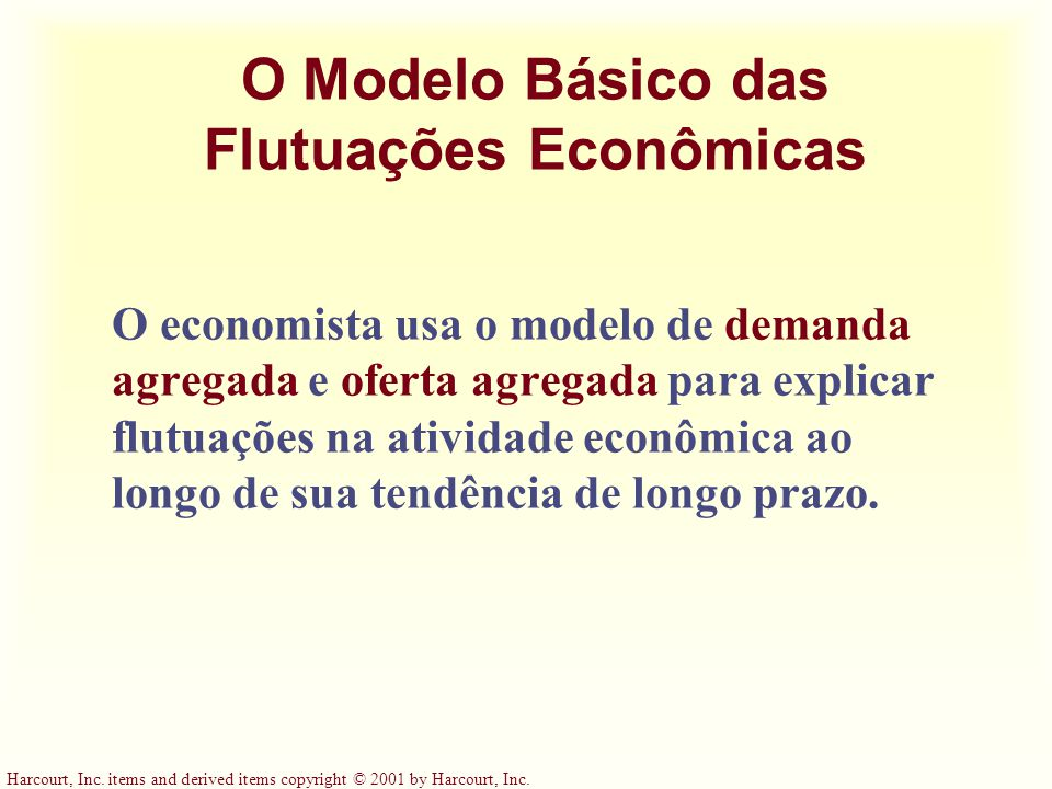Harcourt, Inc. items and derived items copyright © 2001 by Harcourt, Inc. O Modelo Básico das Flutuações Econômicas O economista usa o modelo de deman