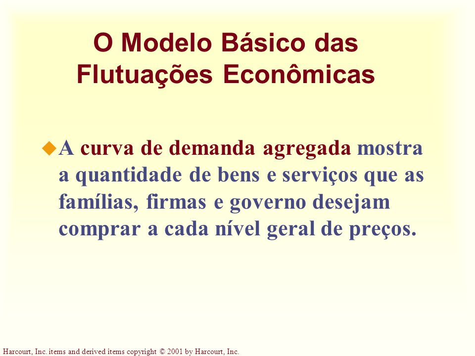 Harcourt, Inc. items and derived items copyright © 2001 by Harcourt, Inc. O Modelo Básico das Flutuações Econômicas u A curva de demanda agregada most