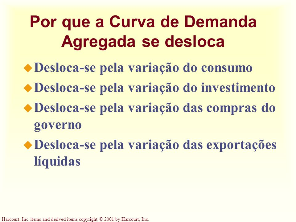 Harcourt, Inc. items and derived items copyright © 2001 by Harcourt, Inc. Por que a Curva de Demanda Agregada se desloca u Desloca-se pela variação do