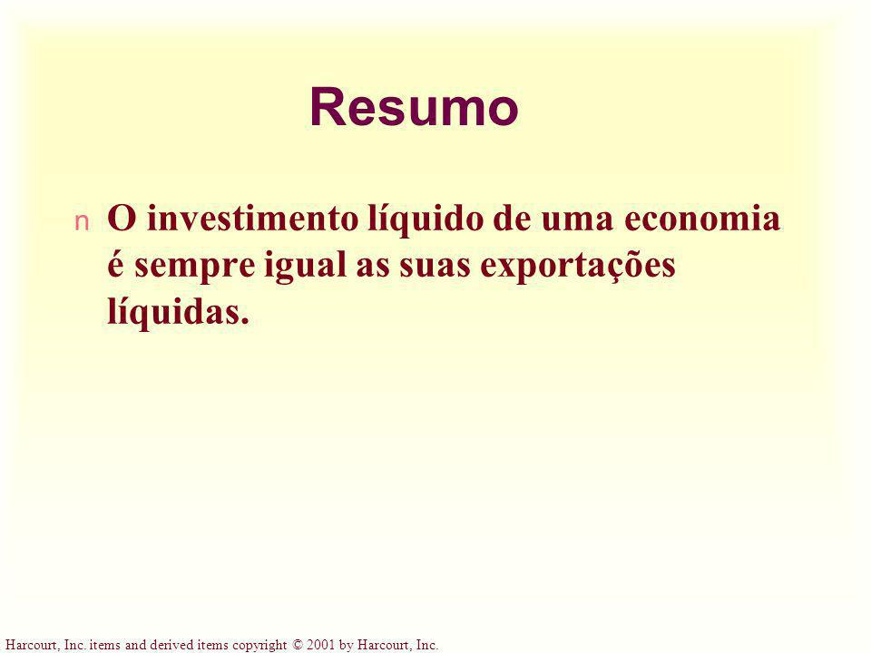 Harcourt, Inc. items and derived items copyright © 2001 by Harcourt, Inc. Resumo n O investimento líquido de uma economia é sempre igual as suas expor