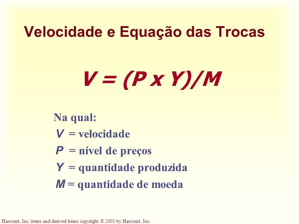 Harcourt, Inc. items and derived items copyright © 2001 by Harcourt, Inc. Velocidade e Equação das Trocas V = (P x Y)/M Na qual: V = velocidade P = ní