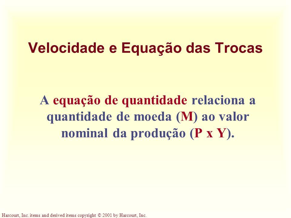 Harcourt, Inc. items and derived items copyright © 2001 by Harcourt, Inc. Velocidade e Equação das Trocas A equação de quantidade relaciona a quantida