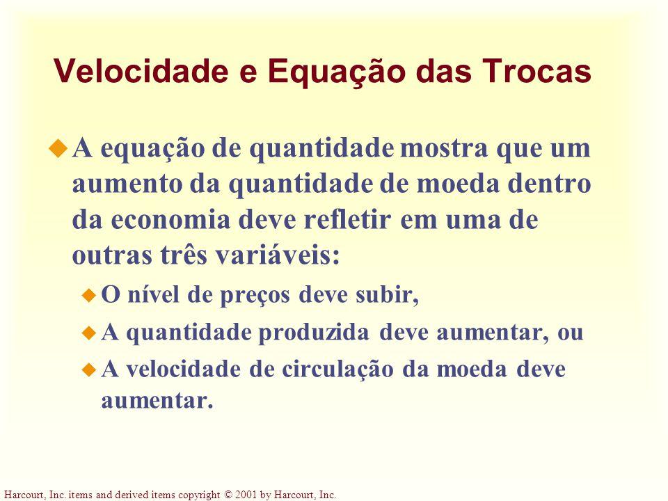 Harcourt, Inc. items and derived items copyright © 2001 by Harcourt, Inc. Velocidade e Equação das Trocas u A equação de quantidade mostra que um aume