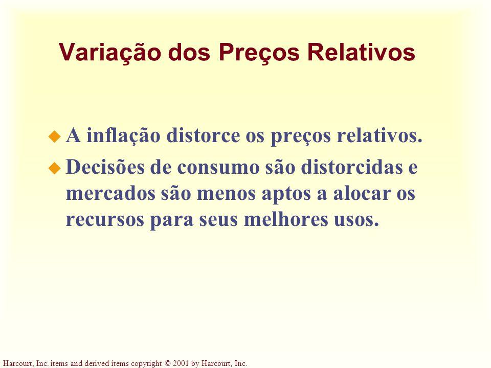 Harcourt, Inc. items and derived items copyright © 2001 by Harcourt, Inc. Variação dos Preços Relativos u A inflação distorce os preços relativos. u D